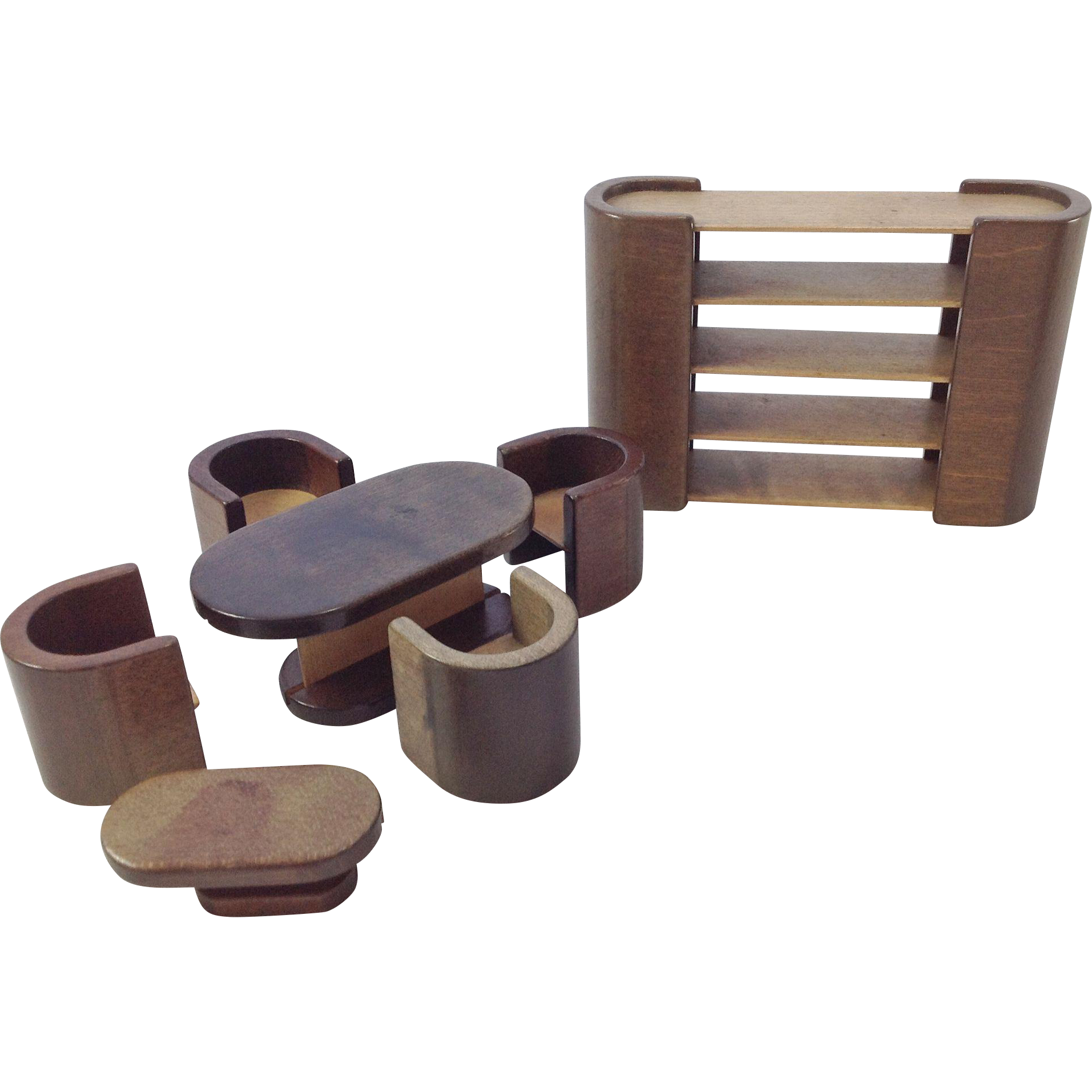 Wonderful Vintage Art Deco Doll House Dining Set, Bookcase / Room Divider And Coffee  Table. 7 Pieces