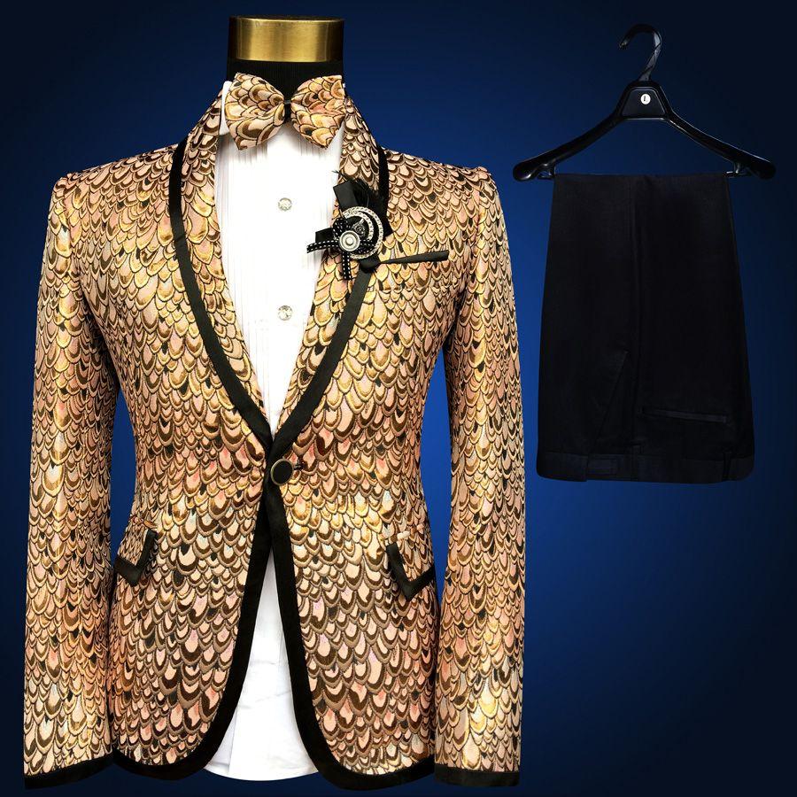369cddeb0bd Gold Suit Lastest Coat Pant Design Pus Size 4xl 5xl 6xl Costume Homme  Wedding Suits for Men Stage Suit Tuxedo Gold Silver Blue