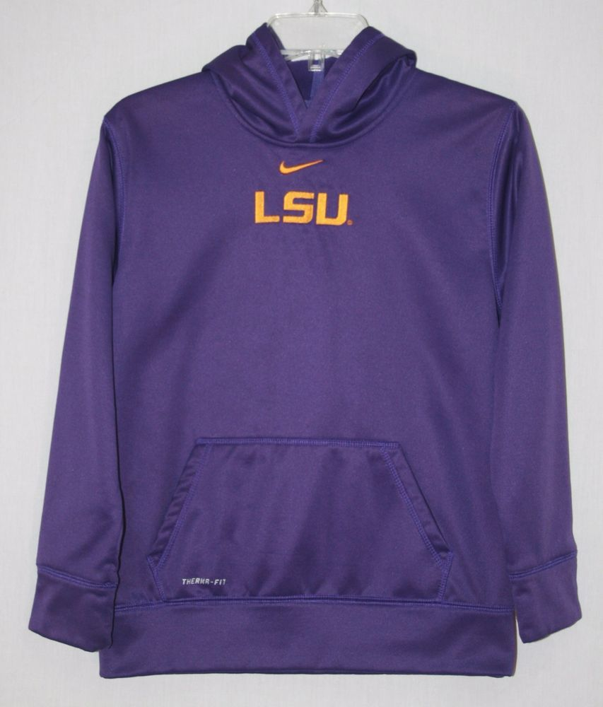 Lsu tigers nike therma fit purple pullover hoodie youth