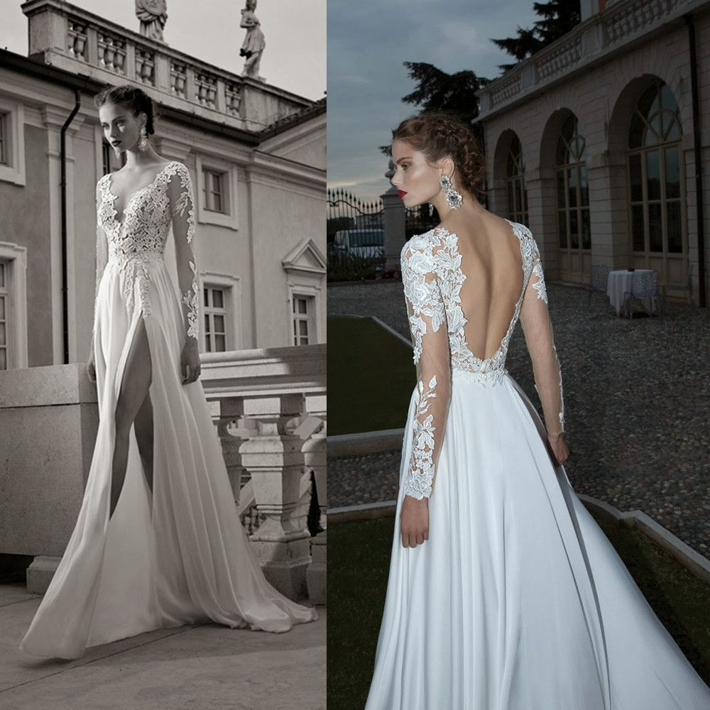 lace-wedding-dresses-with-sleeves-and-open-back- | Unusual Open ...