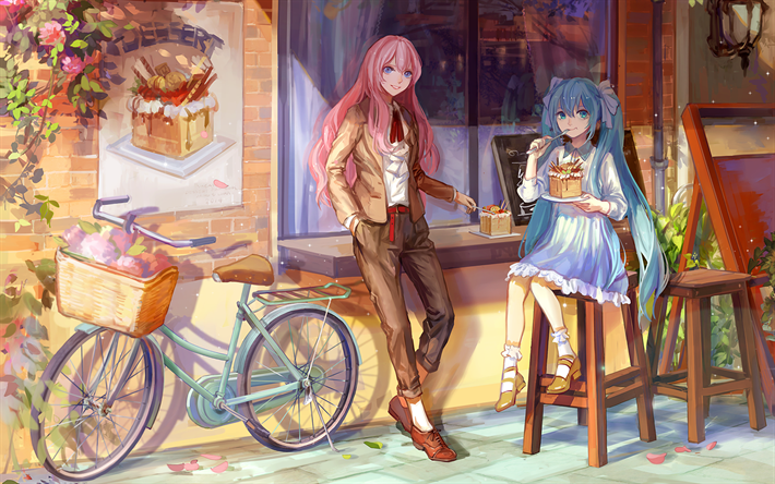 Download wallpapers Luka Megurine, Hatsune Miku, cafe, artwork