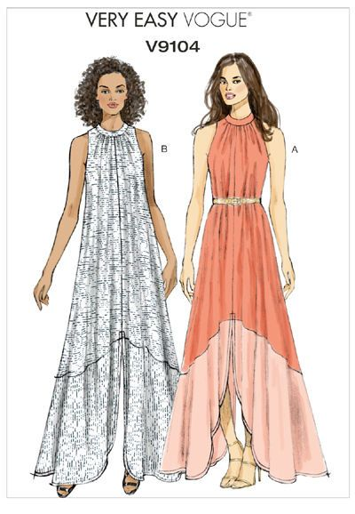 Very Easy Vogue 9104 Bohemian Maxi Summer Dress Loose Sewing Pattern ...