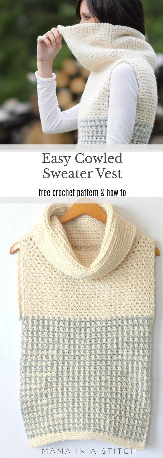 Easy Crochet Cowled Sweater Vest | tejiendo :) | Pinterest | Croché ...
