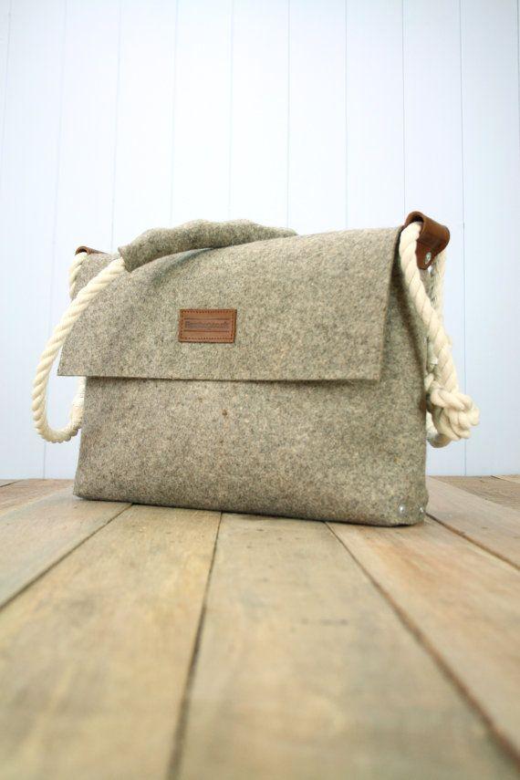 Felt Messenger bag with cotton rope strap, Medium satchel