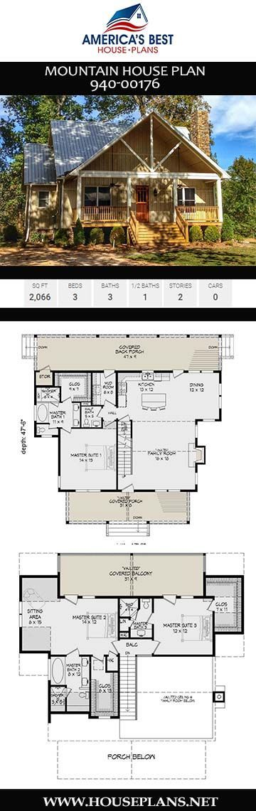 Mountain House Plan 940 00176 House Mountain Plan In 2020 Lake House Plans Mountain House Plans Lake Houses Exterior