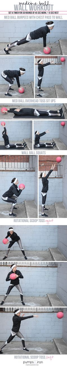 Medicine Ball Wall Workout -- 30 minutes of dynamic, power-building movements #fitness #workout #exercise