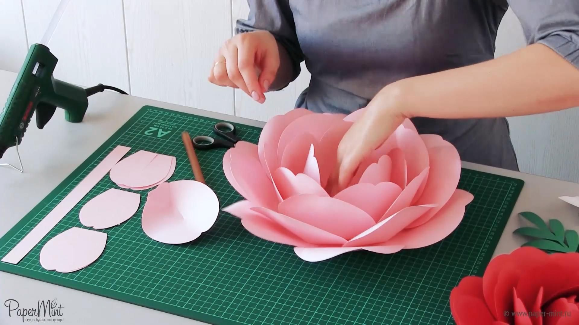 Peony Paper Flowers Video Tutorial & SVG/PDF Templates