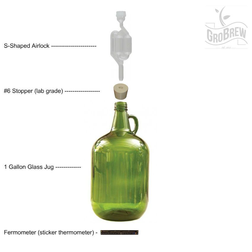 1 Gallon Glass Winemaking Carboy Kit W Airlock Stopper Fermometer Brew Wine Winemaking Glass Brewing
