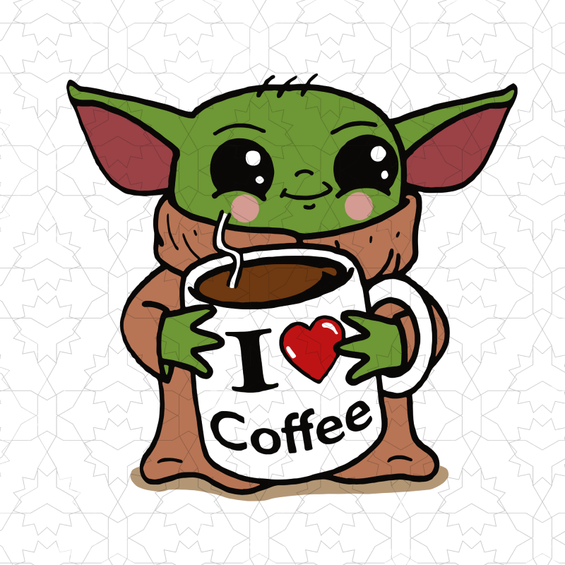 Baby yoda Coffee vector shirt design Cute easy drawings