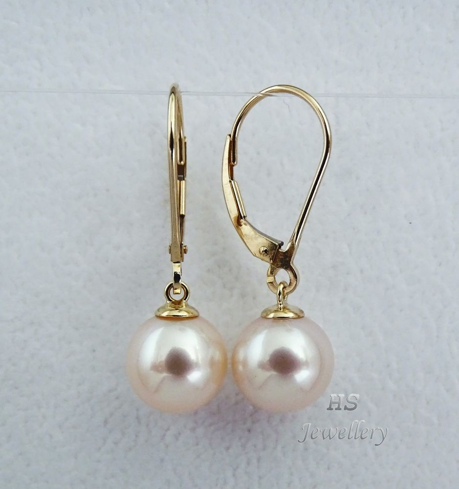 HS Round South Sea Cultured #Pearl 10mm #Hoop #Earrings #14K Yellow #Gold Top #Jewelry #Christmas #Valentine #Bridal