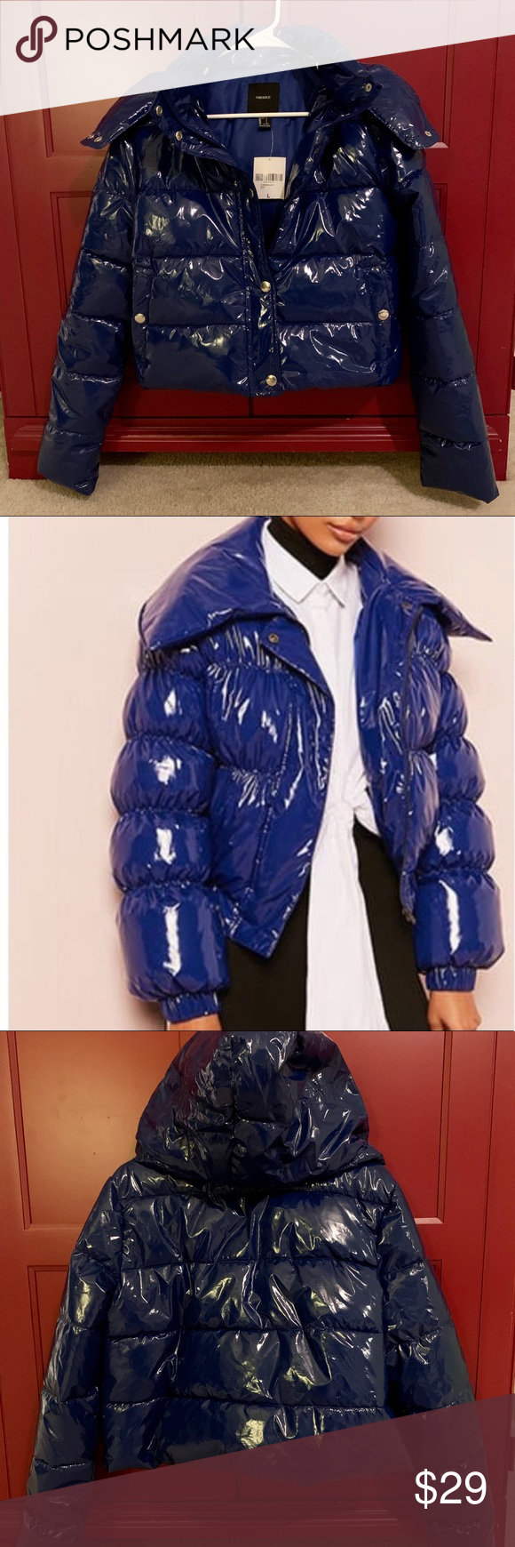 Forever 21 Blue Vinyl Puffer Jacket With Hood In 2020 Blue Vinyl Jackets Puffer Jackets