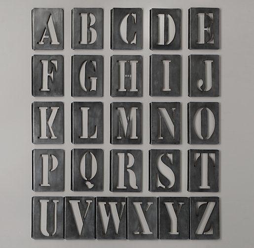 Vintage Industrial Letter Stencils Full Set of Vintage French Printing Stencils