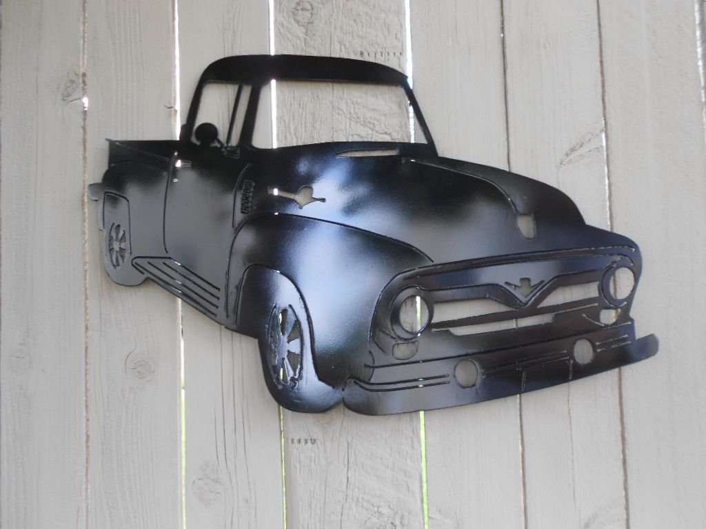 1956 ford pickup truck metal wall art