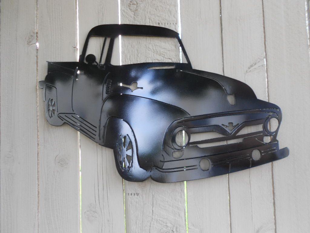 1956 ford pickup truck metal wall art
