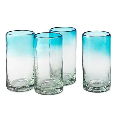 Ombre Water Glasses Recycled Glass Serveware Blue Gradient Modern Design Glass Glassware Drinking Glasses