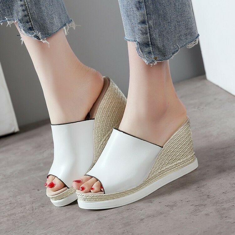 Women High Open Toe Slipper Wedge Platform Sandals Casual Slip on Peep Toe Shoes