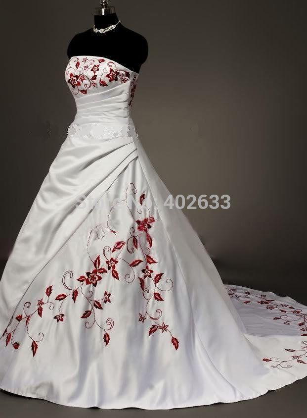 cheap satinado vestido de novia blanco rojo bordado vestido de dama