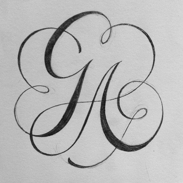 G A Monogram Calligraphy Lettering Ligatures