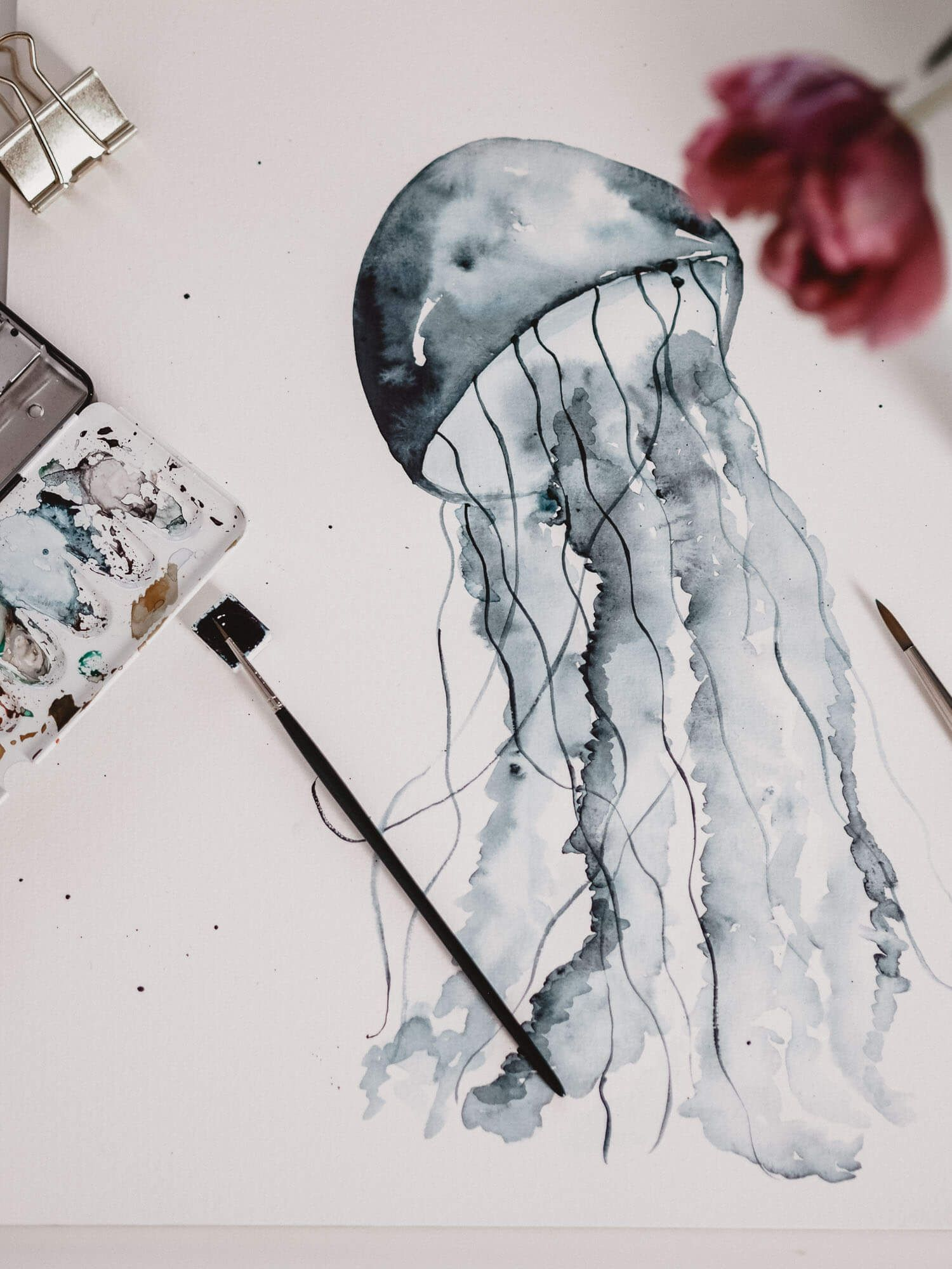 Tutorial: Aquarell Qualle / Watercolor Jellyfish, Step by Step Anleitung zum Malen #watercolorarts