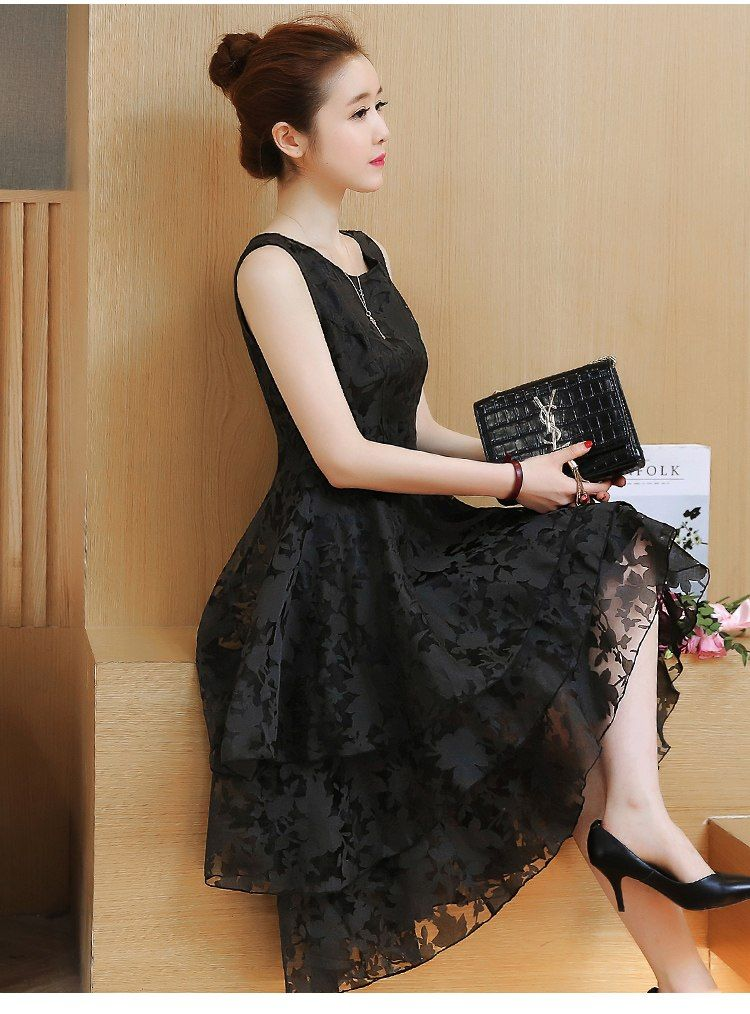 262eadcf8db Fashion Short Party Dress Women Elegant Multi-Layer Swallowtail Tuxedo  Black White Lace Dress Cute