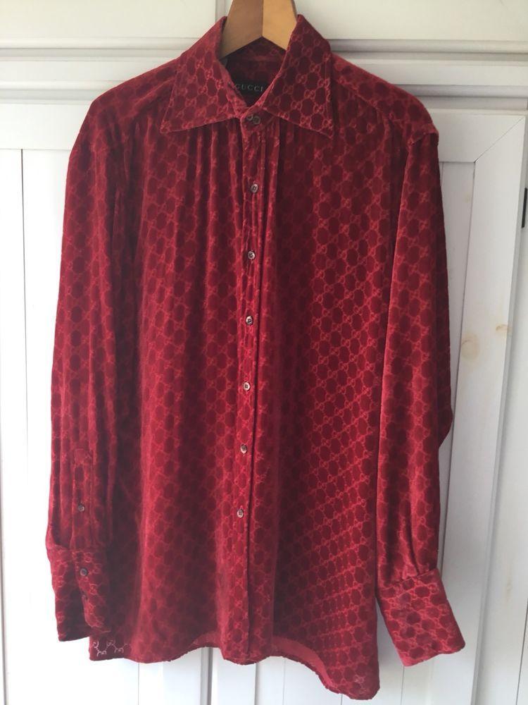 13f49523d £395.00 (50B) +3.95PP Gucci Designer Vintage 90s Shirt Blouse Top 16 Silk  Red Velvet Monogram M L XL #Gucci