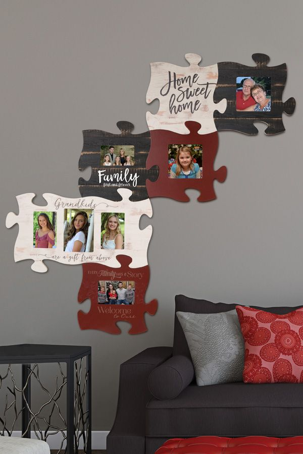 A Home Is Not A Home Without Family Honor Your Family Members With This Collage Of Photo Family Photo Frames Puzzle Piece Picture Frames Wall Painting Frames