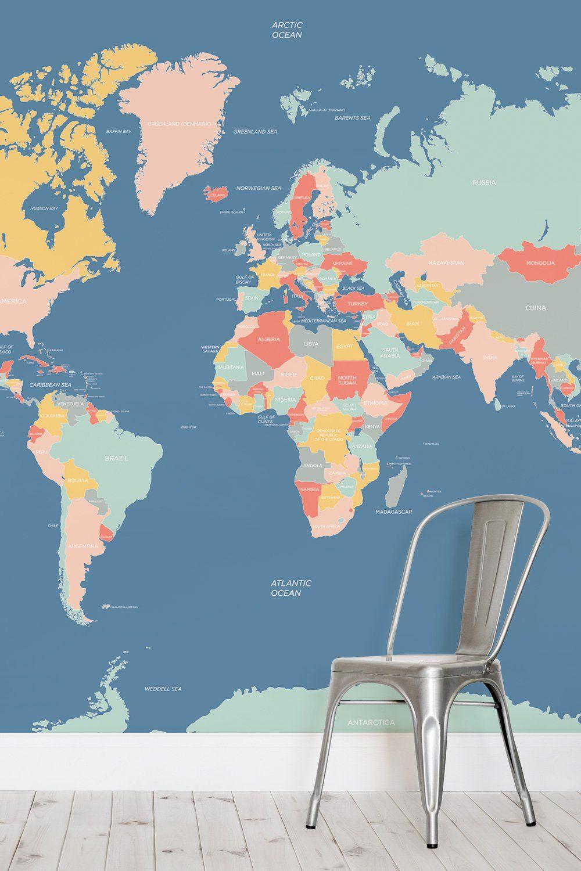 Navigator Kids World Map Wallpaper Mural Map Map Wallpaper Kids
