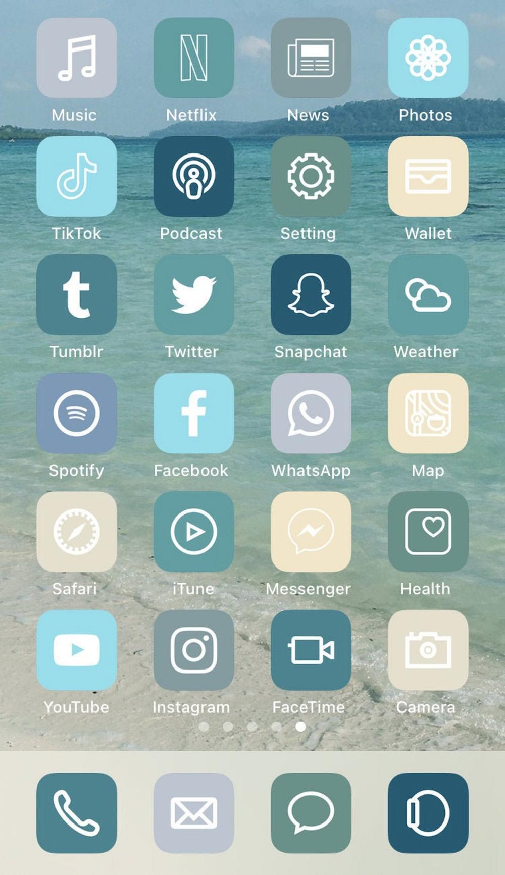 36 ios 14 App Icons | Beach Aesthetic iPhone ios14