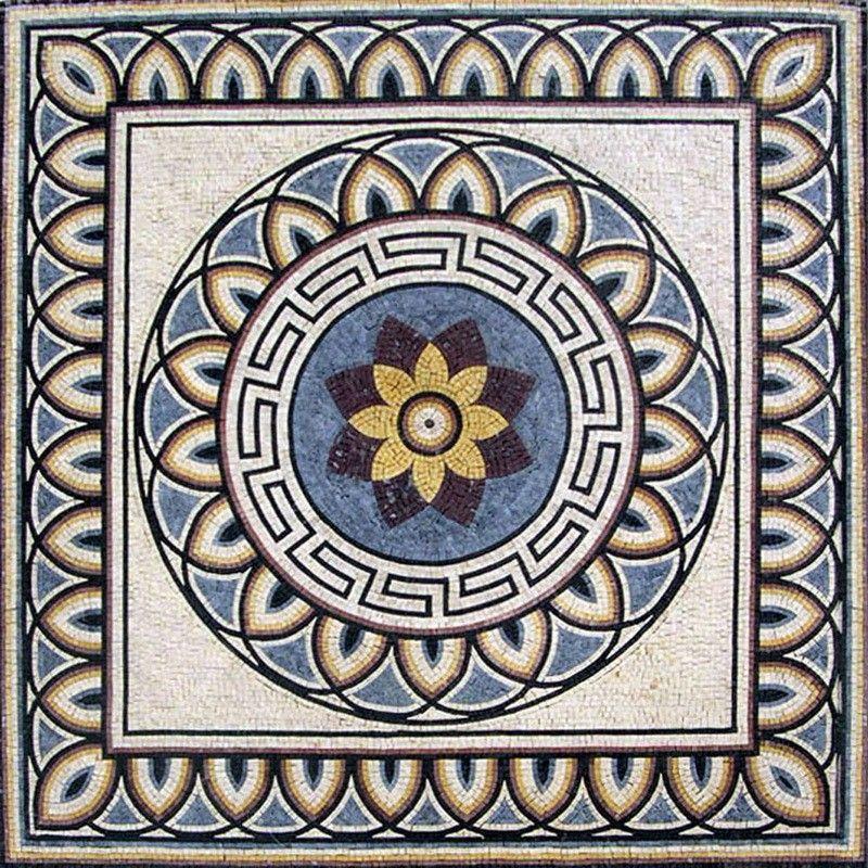 "24/"" Handmade Geometric Floral Pattern Motif Pool Garden Home Decor Marble Mosaic"