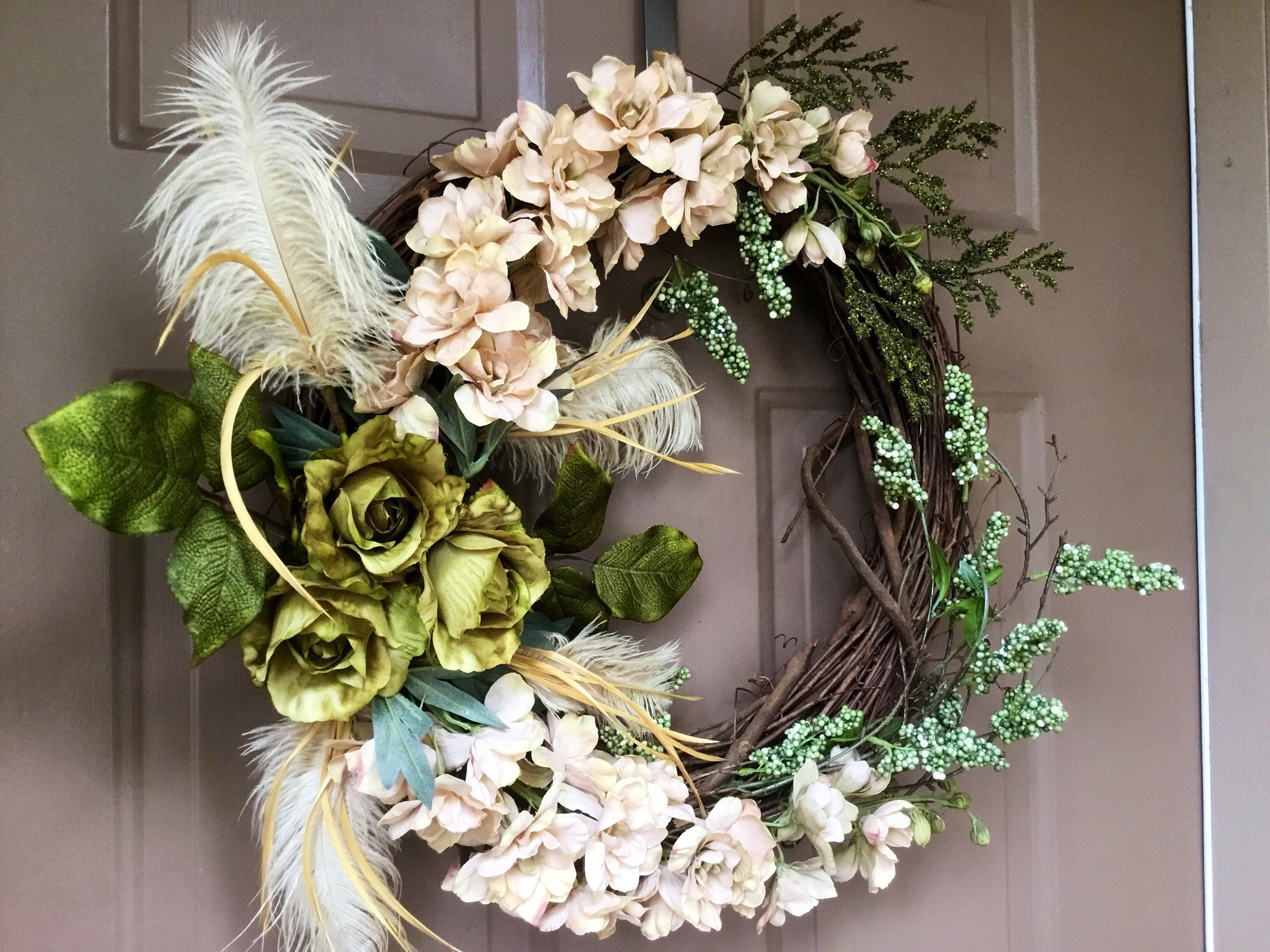 Modern Wreath Fall Wreath Thanksgiving Wreath Autumn Wreath Green Beige Wreath Indoor Wreath Outdoor Wreath Gift Wreath Indoor Wreath Grapevine Wreath Greenery Wreath