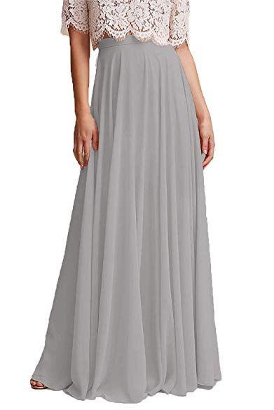 Honey Qiao Chiffon Bridesmaid Dresses High Waist Long ...