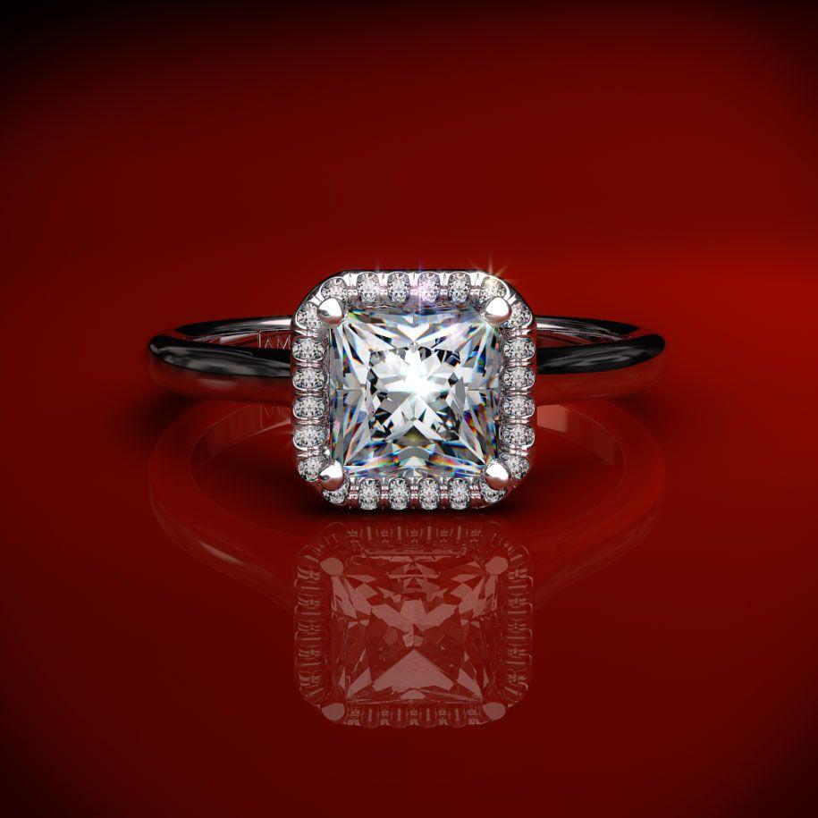 Platinum Wedding Band James Allen: Platinum Pave Halo Diamond Engagement Ring