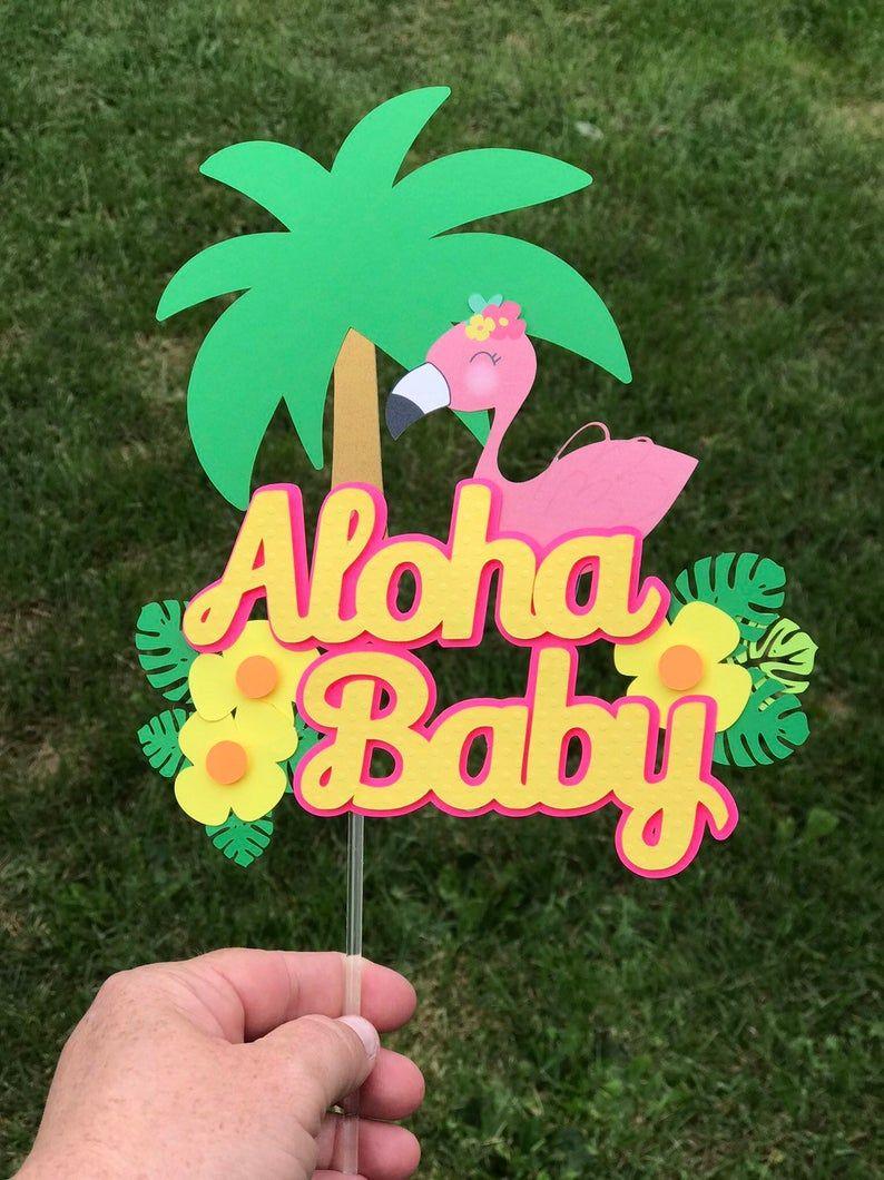 Aloha baby one year cake topper flamingo flamingo cake