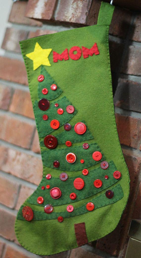 template christmas stocking decorating ideas  Christmas Tree Christmas Stocking Felt Pattern Instant ...