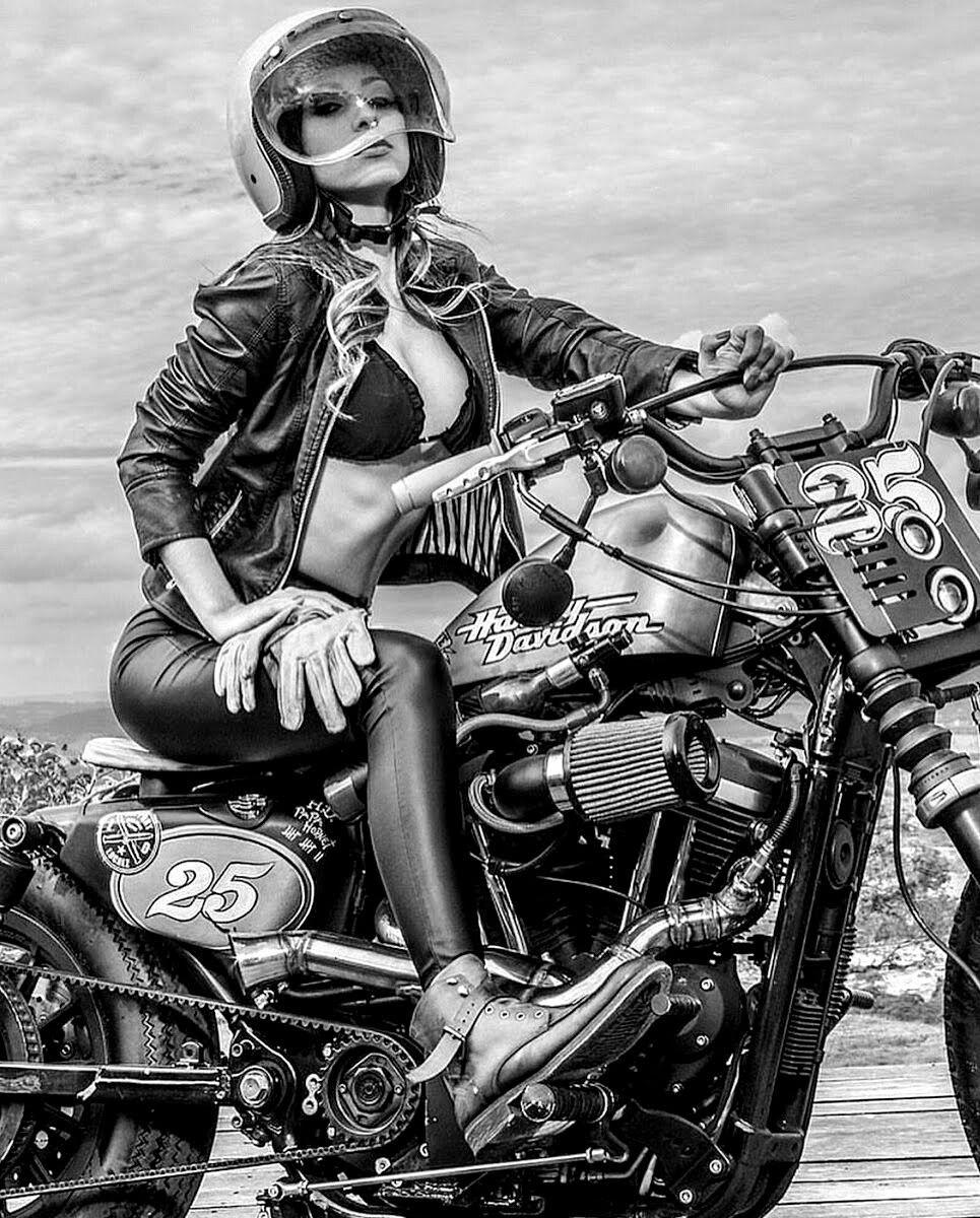 Sexy Biker Girl Poster