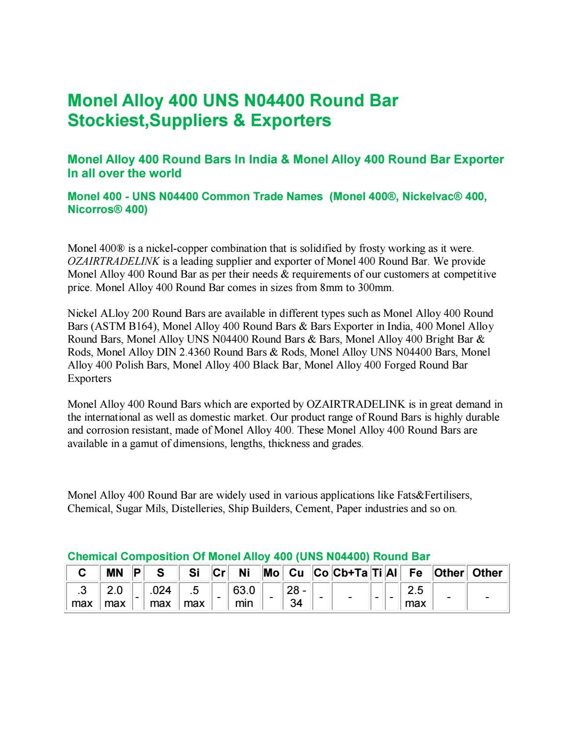 Monel Alloy 400 UNS N04400 Round Bar Stockiest,Suppliers & Exporters ...