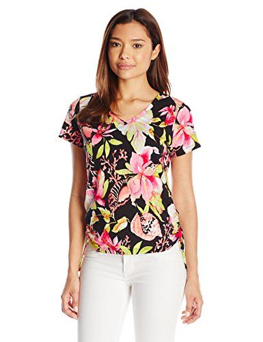 aacd6a3ba4a6e8 Caribbean Joe Womens Petite Printed Short Sleeve VNeck Side Ruched Tee  Shirt Black PetiteMedium *** To view further for this item, visit the image  link.