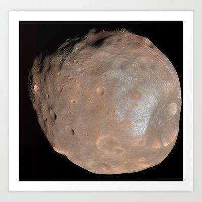 Phobos Doomed Moon of Mars  Art Print by Planet Prints - $14.00