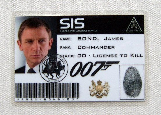 James Bond Personalised 007 Id Card Official 007store Personal Cards Cards Personalised