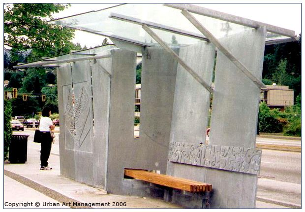 concrete and wood bus shelter