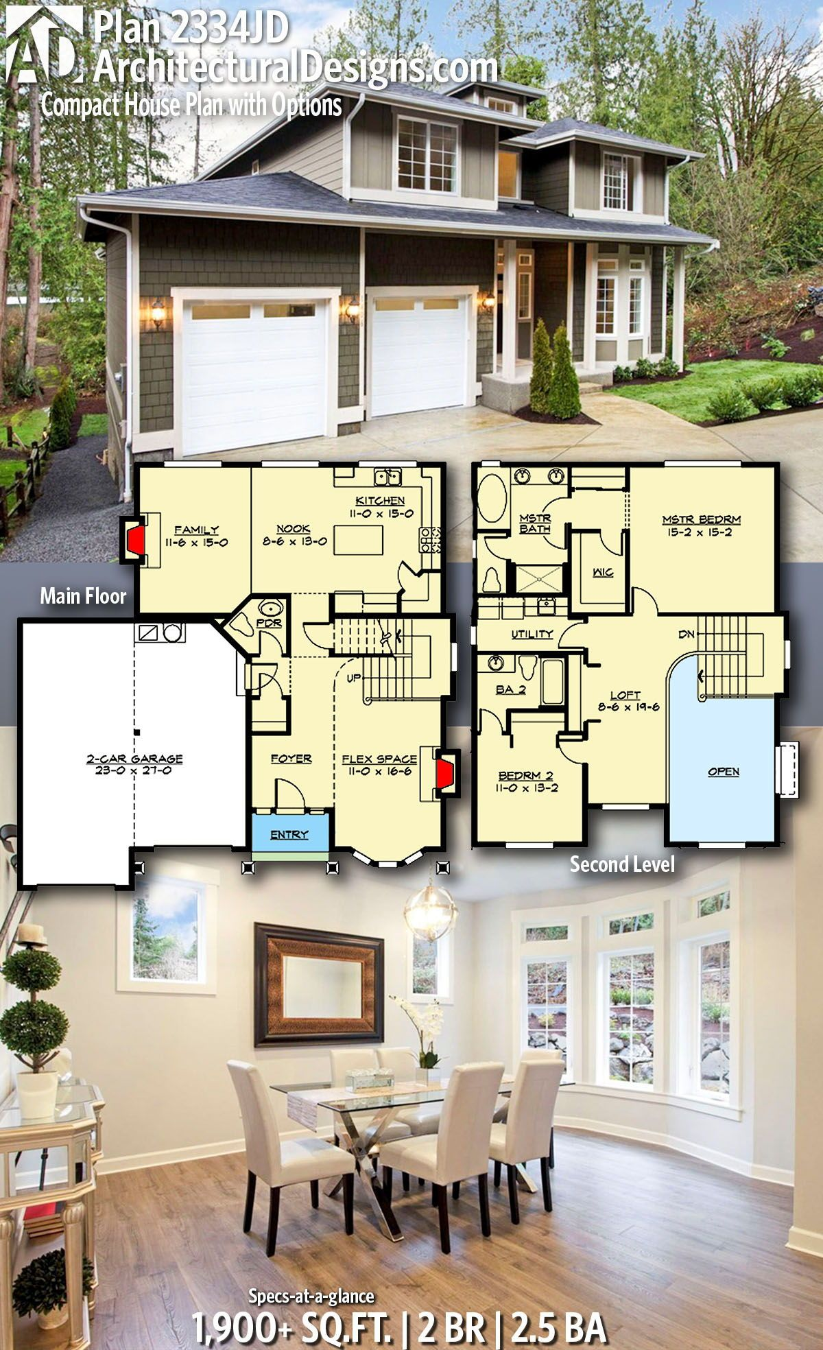 Plan 2334jd Compact House Plan With Options Craftsman House Plans House Plans Country House Plans