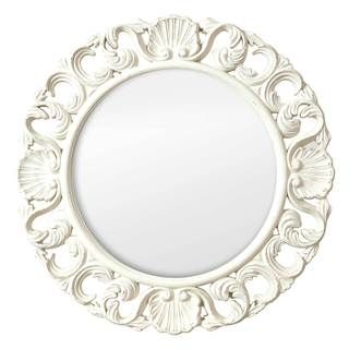 Selections By Chaumont Casa Vintage White Mdf Ornate Circular Mirror Circular Mirror Mirror Wall Round Wall Mirror