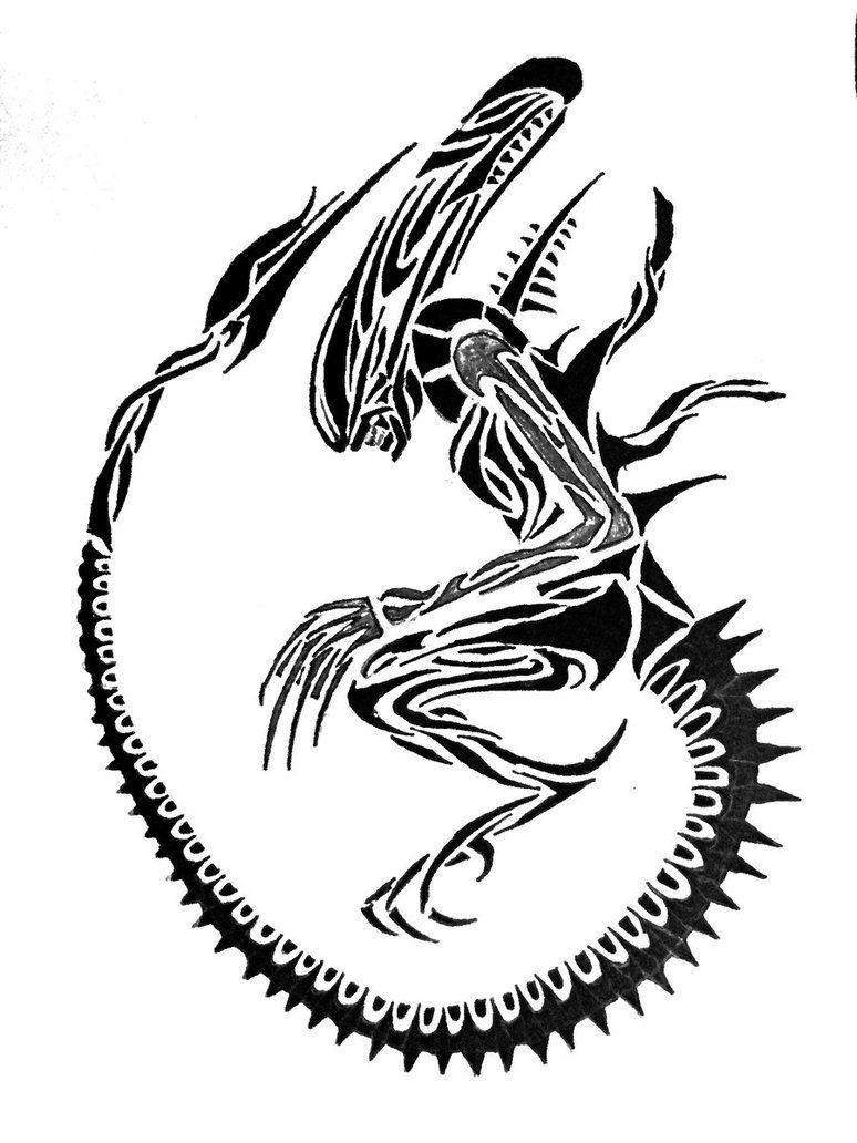 Alien tribal Aliens Alien tattoo