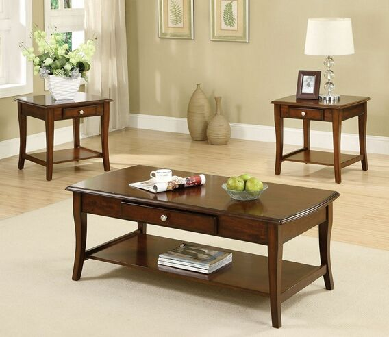 Cm4702 3pk 3 Pc Lincoln Park Dark Oak Wood Finish Coffee And End Table Set Coffee Table Wood Coffee Table End Tables With Drawers