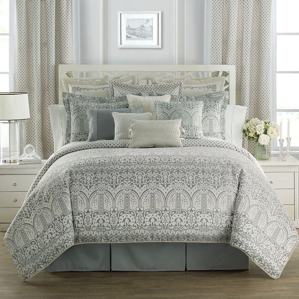 Waterford Linens Allure Slate Grey 4 Pc King Comforter Sham