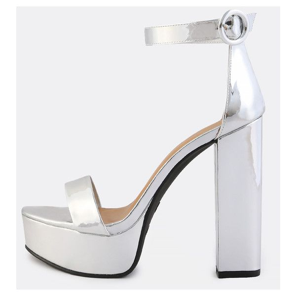 Ankle Strap Metallic Platform Heels SILVER (41 NZD) ❤ liked on Polyvore  featuring shoes dbd2939736d0
