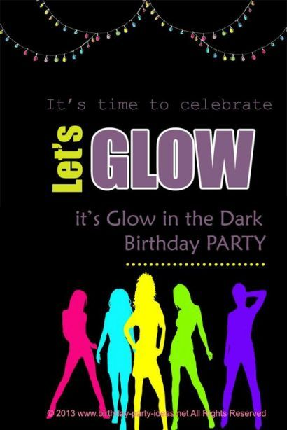 glow in the dark or black light birthday party some good ideas - Black Light Party Invitations