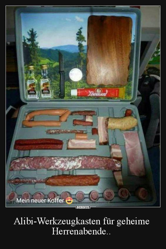 Alibi-Werkzeugkasten für geheime Herrenabende.. | Lustige Bilder, Sprüche, Witze, echt lustig #lustigegeschenke