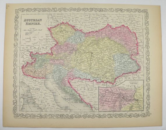 Antique Map Austria, Austrian Empire 1858 Mitchell Map, History Buff - best of world map hungary syria