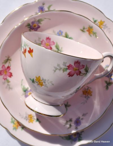 Pink Vintage Tuscan China Tea Set for six
